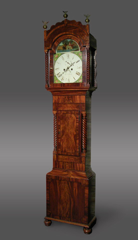 8-day longcase clock with painted arch dial with a rural scene