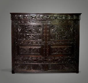MARRIAGE CUPBOARD Made to commemorate the marriage in circa 1609 of William Scourfield and Jane Owen of Henllys