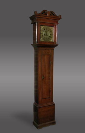 8-day longcase clock with repeater mechanism, square brass dial and cast corner spandrels, circa 1760