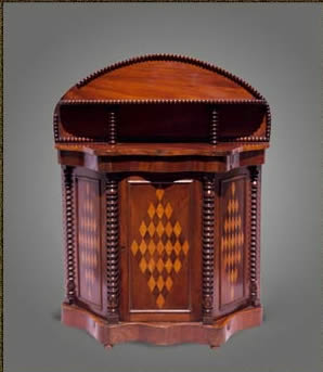 "Miniature mahogany chiffonier with serpentine front, bearing the inscription ""Alfred May, Maker, Bush St"", Pembroke Dock , circa 1880"
