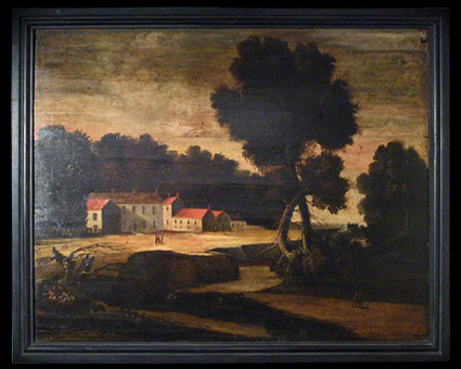 Antique Oil Chimneypiece landscape on panel, originally from Popehill
