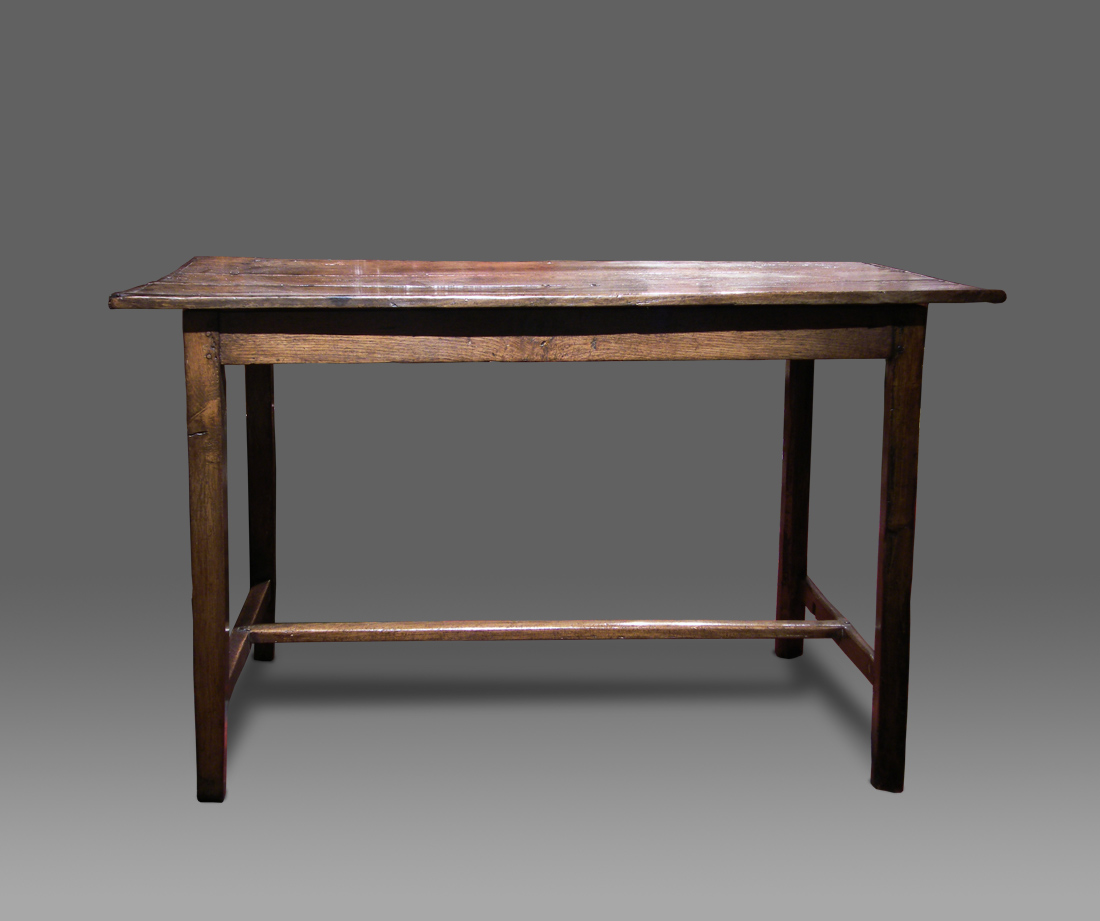 ANTIQUE OAK FARMHOUSE TABLE of small proportions the triple plank top with c